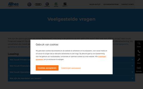 Screenshot of FAQ Page ames.nl - FAQ, voor al uw antwoorden op veelgestelde vragen | Ames - captured Oct. 27, 2018