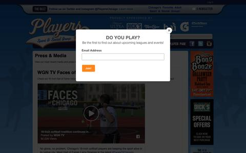 Screenshot of Press Page playerssports.net - Press & Media: Players Sport & Social Group - Chicago, IL - captured Sept. 28, 2018