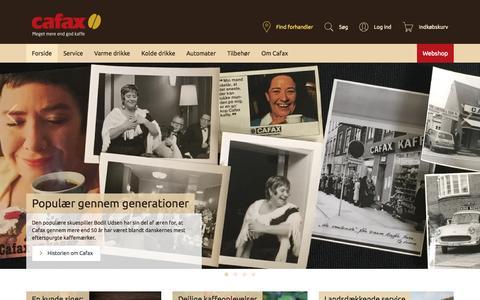 Screenshot of Home Page cafax.dk - Firmakaffe til hele landet – god smag og hurtig service – Cafax - captured July 17, 2015