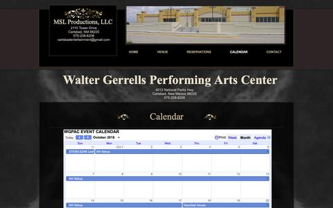 Screenshot of Menu Page carlsbadentertainment.com - wgpac | CALENDAR - captured Oct. 25, 2018