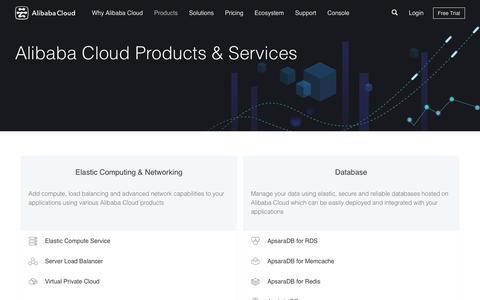 Screenshot of Products Page aliyun.com - Cloud Computing Services - Alibaba Cloud - captured July 2, 2016