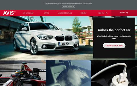 Screenshot of avis.co.uk - Car hire with comfort and class from Avis Rent a Car - captured July 16, 2017