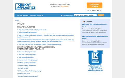 Screenshot of FAQ Page elkayplastics.com - Frequently Asked Questions | Elkay Plastics - captured Nov. 4, 2014