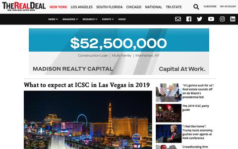 Screenshot of Home Page therealdeal.com - The Real Deal | New York Real Estate News - captured May 18, 2019