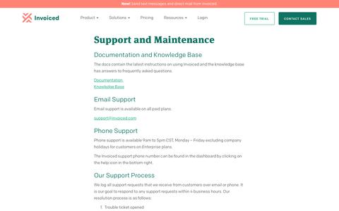Screenshot of Support Page invoiced.com - Invoiced | Support and Maintenance Terms - captured Dec. 10, 2018