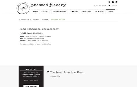 Screenshot of Support Page pressedjuicery.com - Customer Service | Pressed Juicery - captured Oct. 10, 2014