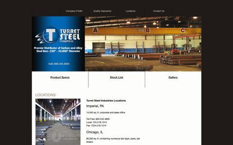 Screenshot of Locations Page turretsteel.com - Locations - Turret Steel Industries - captured Nov. 16, 2018