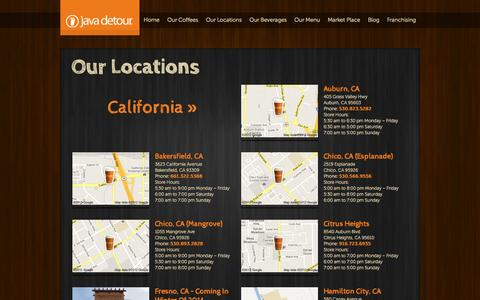 Screenshot of Locations Page javadetour.com - Coffee House Franchise in California - captured Sept. 30, 2014