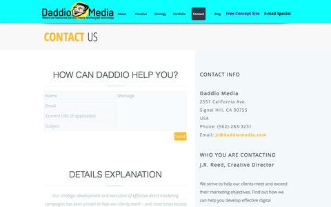 Screenshot of Contact Page daddiomedia.com - Daddio Media   Contact Us - captured July 31, 2016