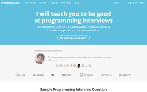 Screenshot of Home Page interviewcake.com - Programming Interview Questions   Interview Cake - captured Feb. 19, 2016