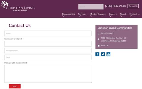 Screenshot of Contact Page christianlivingcommunities.org - Contact Christian Living Communities - captured July 17, 2018