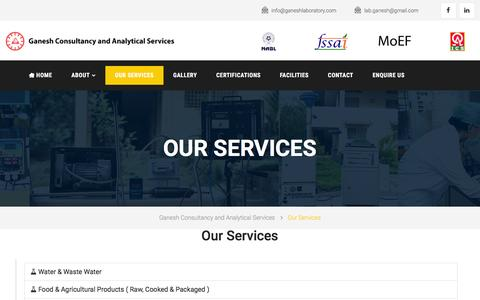Screenshot of Services Page ganeshlaboratory.com - Ganesh Consultancy and Analytical Services | Ganesh Laboratory - captured Oct. 25, 2016
