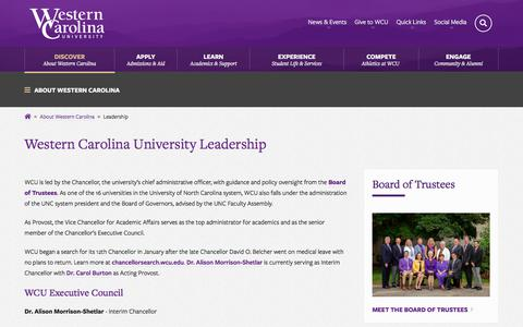 Screenshot of Team Page wcu.edu - Western Carolina University - WCU Leadership - captured Sept. 23, 2018