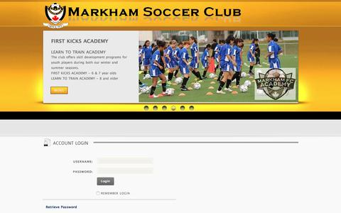 Screenshot of Login Page markhamsoccer.org - User Log In - captured Feb. 12, 2016