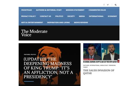 Screenshot of Home Page themoderatevoice.com - Frontpage – The Moderate Voice - captured July 31, 2017