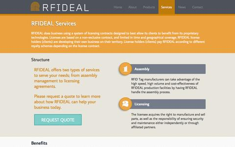 Screenshot of Services Page rfideal.com - RFIDEAL does business using a system of licensing contracts designed - captured Oct. 9, 2014