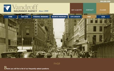 Screenshot of FAQ Page vandroff-insurance.com - FAQs | Vandroff Insurance - captured Dec. 18, 2016