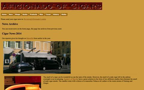 Screenshot of Press Page aficionado.london - Aficionado of Cigars - News Archive - captured Oct. 21, 2018