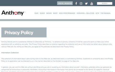 Screenshot of Privacy Page anthony.com - Privacy Policy   Anthony - captured June 29, 2017