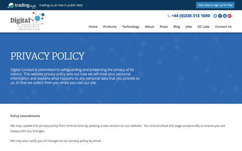 Screenshot of Privacy Page digitalcontact.co.uk - Privacy Policy | Digital Contact - captured Jan. 7, 2016