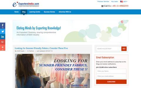Screenshot of Blog exportersindia.com - B2B Marketplace - Guide & Research Centre   ExportersIndia.com Blog - captured July 23, 2018