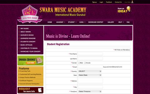 Screenshot of Signup Page swaramusicacademy.com - Swara Music Academy - captured Oct. 26, 2014