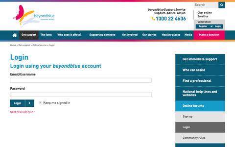 Screenshot of Login Page beyondblue.org.au - Login - captured July 31, 2016
