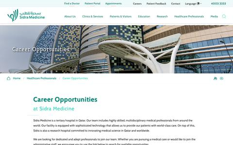 Screenshot of Jobs Page sidra.org - Career Opportunities | Sidra Medicine - captured Nov. 8, 2018