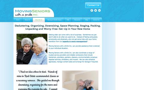 Screenshot of Services Page movingseniorswithasmile.ca - Organizing   Downsizing   Space Planning   Packing Unpacking   GTA - captured Dec. 15, 2016