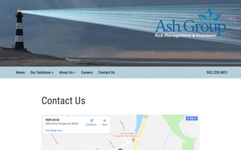 Screenshot of Contact Page ashgroup.us.com - Ash Group US Prospect KY Risk Management Solutions & Brokerage - captured July 30, 2018
