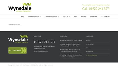 Screenshot of Terms Page wynsdale.co.uk - Terms & Conditions  - Wynsdale Waste Management - captured Oct. 18, 2018
