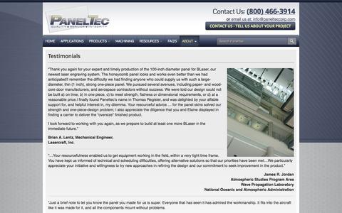 Screenshot of Testimonials Page panelteccorp.com - Aluminum Honeycomb Panels | Honeycomb Panels | Testimonials PanelTec - captured Oct. 1, 2014