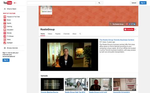 Screenshot of YouTube Page youtube.com - RostieGroup  - YouTube - captured Oct. 25, 2014