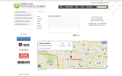 Screenshot of Contact Page visualtechnologies.com.au - Visual Technologies, Digital Signs & LED Supplies, Melbourne - captured Oct. 7, 2014