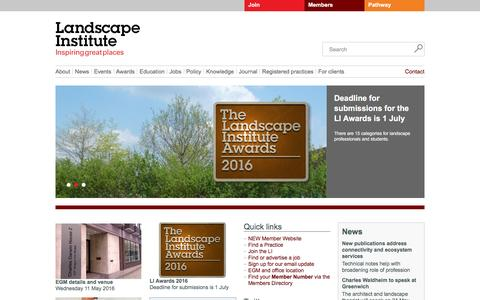 Screenshot of Home Page landscapeinstitute.org - Landscape Institute - captured May 7, 2016