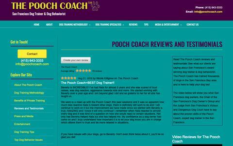 Screenshot of Testimonials Page poochcoach.com - Pooch Coach Reviews and Testimonials | San Francisco Dog Trainer - captured Oct. 20, 2018