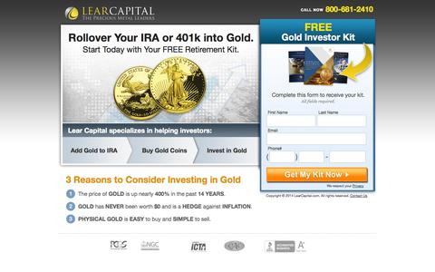Screenshot of Landing Page learcapital.com - Gold Investments - Gold Coins and IRAs - Secure Your Future - Lear Capital - captured Oct. 27, 2014