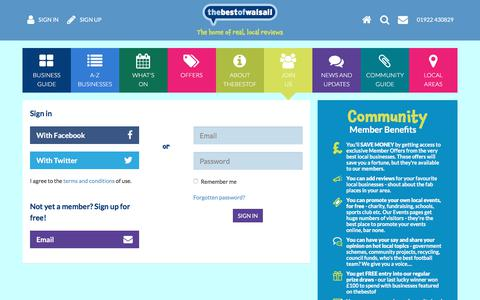 Screenshot of Signup Page thebestof.co.uk - Walsall, West Midlands - trusted businesses, events and local information - captured Feb. 26, 2018