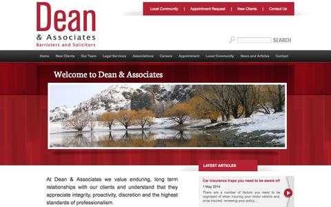Screenshot of Home Page deanlaw.co.nz - Dean & Associates :: Dean & Associates - Barristers and Solicitors ::: Home - captured Oct. 5, 2014