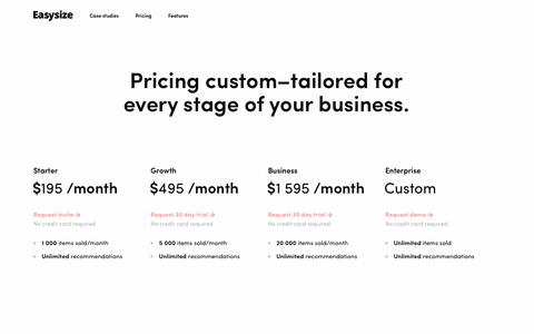 Screenshot of Pricing Page easysize.me - Pricing | Easysize - captured May 15, 2019