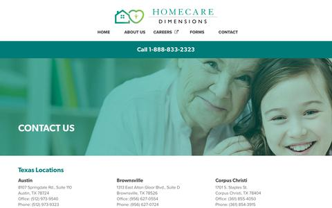Screenshot of Contact Page homecaredimensions.com - Contact Us - Homecare Dimensions - captured Sept. 29, 2018