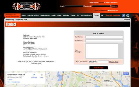 Screenshot of Contact Page Maps & Directions Page parallelsoundgroup.com - Parallel Sound Group: Contact - captured Oct. 22, 2014