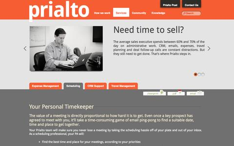 Screenshot of Services Page prialto.com - Scheduling Services - captured Sept. 24, 2014