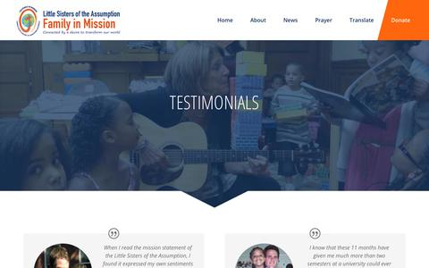 Screenshot of Testimonials Page lsafim.org - Testimonials   Little Sisters of the Assumption Family in Mission - captured Sept. 25, 2018