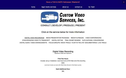 Screenshot of Pricing Page legalvideomiami.com - Pricing — Custom Video Services, Inc. - captured Nov. 2, 2014