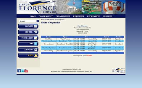 Screenshot of Hours Page florence-ky.gov - Hours of Operation | City of Florence, KY - captured Oct. 2, 2014