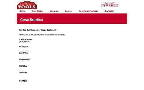 Screenshot of Case Studies Page cybermarketingtools.co.uk - Case Studies - Cybermarketing Tools - captured Oct. 3, 2014
