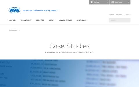 Screenshot of Case Studies Page arifleet.ca - Case Studies - ARI - captured Nov. 21, 2016