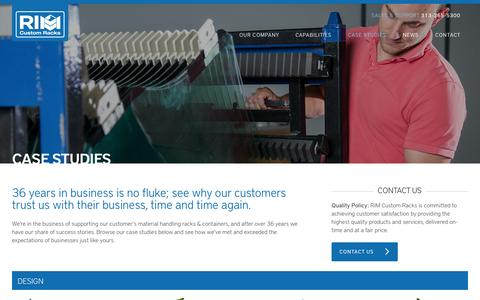Screenshot of Case Studies Page rimcustomracks.com - Case Studies - RIM Custom Racks : RIM Custom Racks - captured Oct. 29, 2014