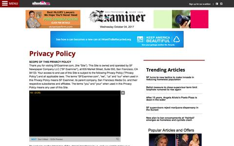 Screenshot of Privacy Page sfexaminer.com - Privacy Policy - The San Francisco Examiner - captured Oct. 4, 2017